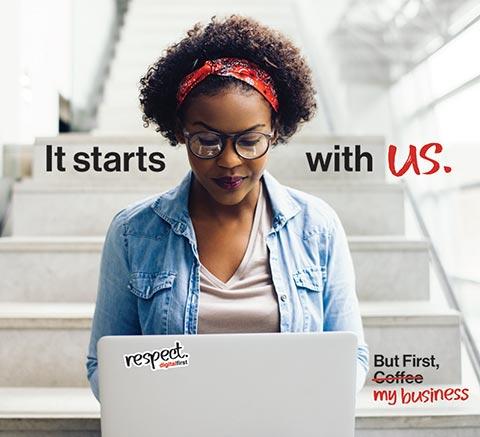 Verizon tv - woman working at laptop