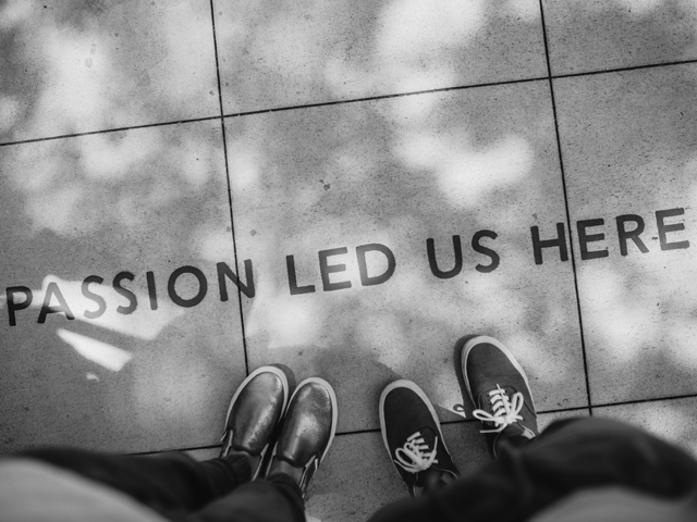 passion led us here etched in floor tiles